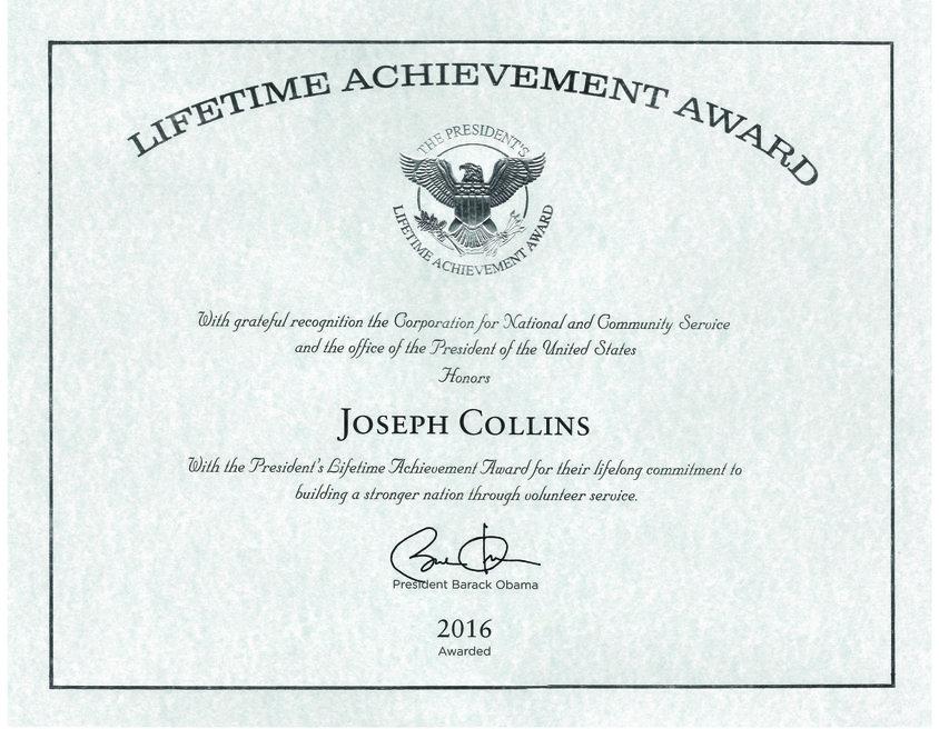 Joseph Collins' Lifetime Achievement Award Certificate
